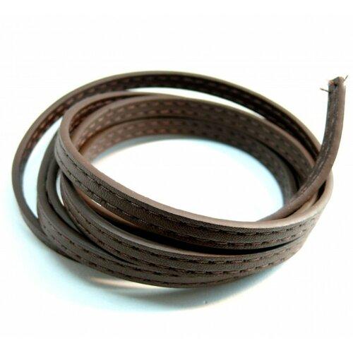 Environ 1,2 mètre de cordon simili cuir surpiqué scellerie plat marron 6.5mm h11915c
