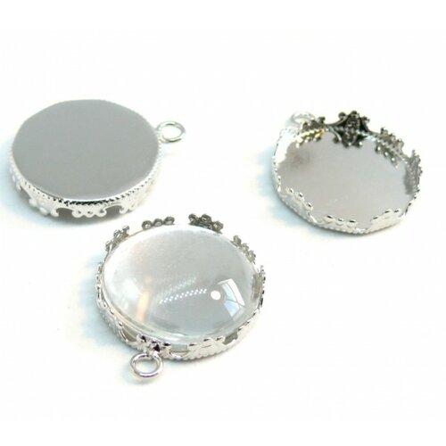 Bn1134588 20 pièces pax 10 supports de pendentif couronne rond 20mm laiton couleur argent platine et 10 cabochons
