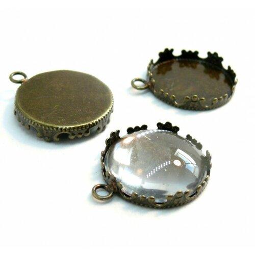Bn1134588 20 pièces pax 10 supports de pendentif couronne rond 20mm laiton couleur bronze et 10 cabochons