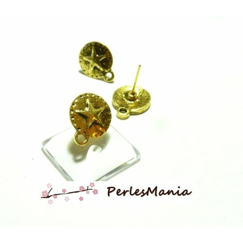 H2217411 pax 10 boucles d'oreille clou puce avec attache etoile métal couleur or antique
