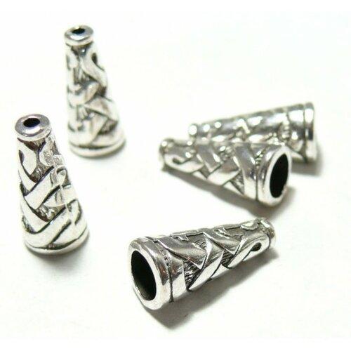 H11821 pax 20 cônes embouts caps coupelles torsade métal couleur argent antique