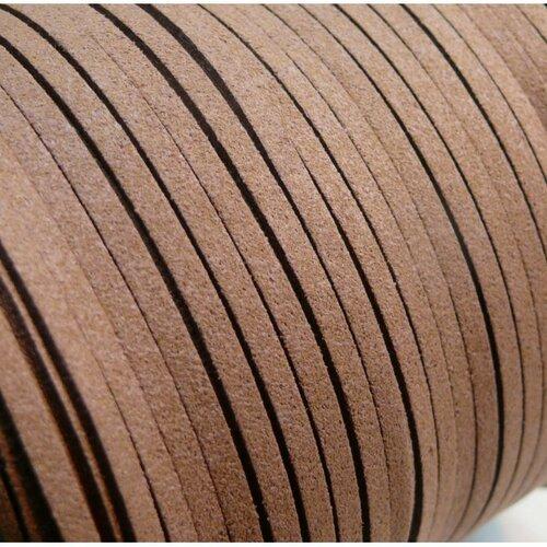 S1110 lot de 10m de cordon en suédine orange brique 3mm aspect daim qualité