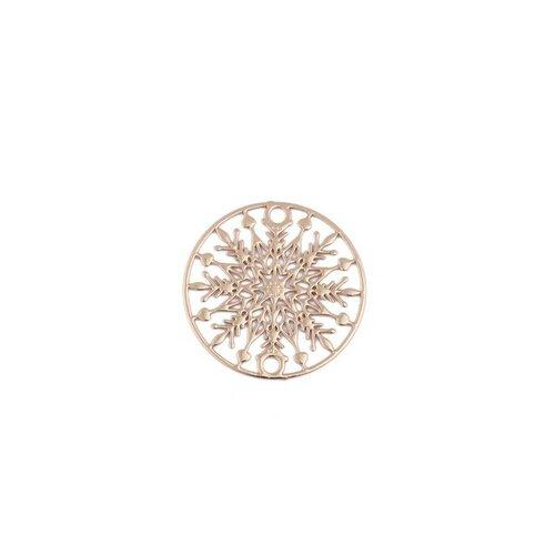 Ps110204869 pax 10 estampes pendentif connecteur filigrane medaillon flocon de neige 20mm doré