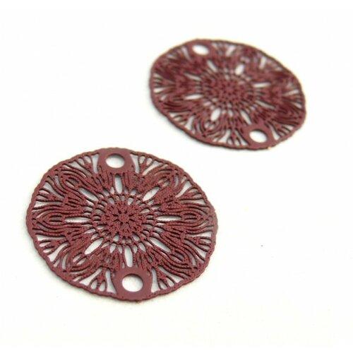 S11204933 pax 10 estampes pendentif connecteur filigrane medaillon fleur bordeaux vin de 19mm