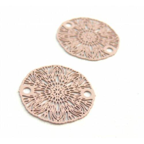 S11204934 pax 10 estampes pendentif connecteur filigrane medaillon fleur rose beige de 19mm