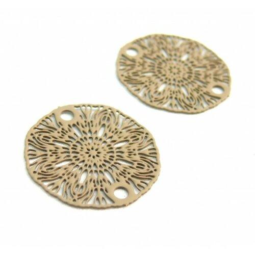 S11204935 pax 10 estampes pendentif connecteur filigrane medaillon fleur taupe beige de 19mm