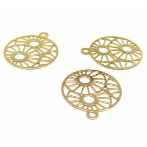 C9595 pax 4 estampes pendentif medaillon zen 15mm cuivre couleur doré