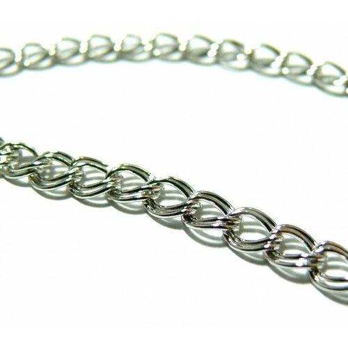 Pchd004y pax 5 mètres chaine double maille métal couleur argent platine