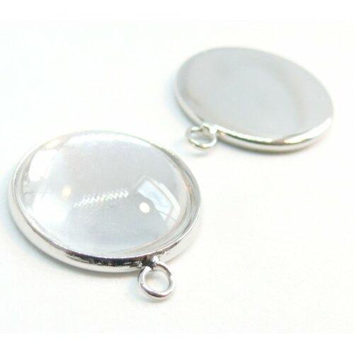 20 pièces: bn1123306 pax 10 supports de pendentif 16mm attache ronde laiton couleur argent vif et 10 cabochons en verre