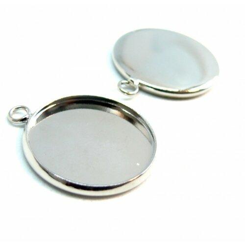 Bn1123308 pax 10 supports de pendentif attache ronde 20mm laiton couleur argent platine
