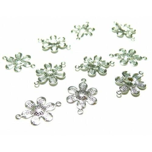 Pb589 lot de 50 connecteurs pendentifs estampes fleur métal couleur argent vif