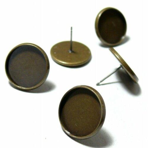 H11589 pax 50 supports de boucle d'oreille puce laiton couleur bronze 12mm