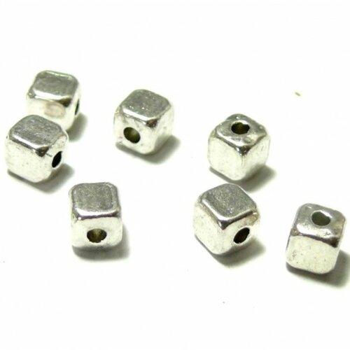 H11310 pax 100 perles intercalaire petits cube 3mm métal couleur argent antique