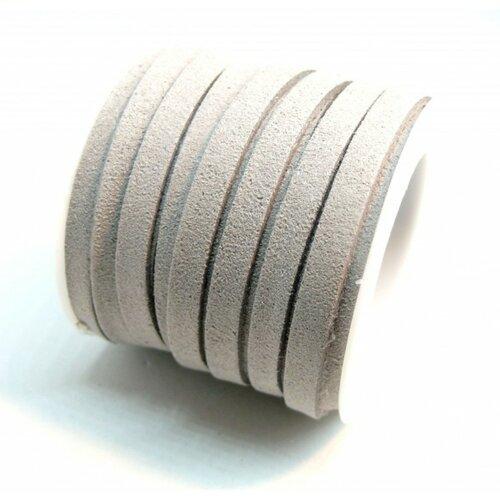 P1126 lot 1 rouleau d'environ 5m de cordon en suédine aspect daim gris qualité