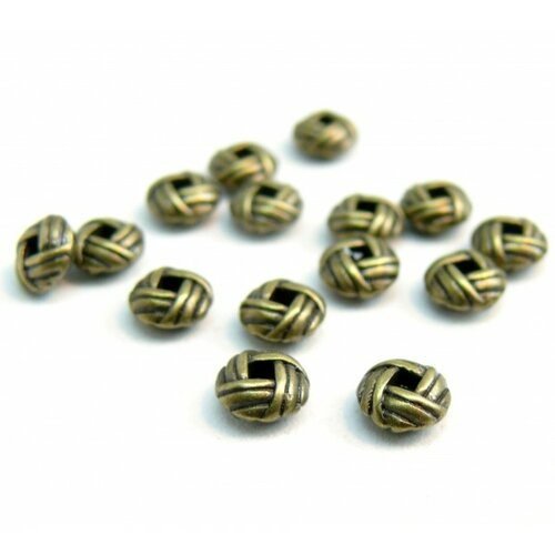 H25847 pax 50 perles intercalaires rondelles type pelote torsade 6mm metal couleur bronze