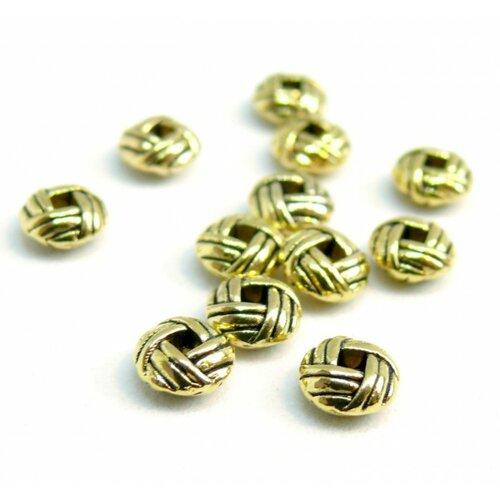 H25847 pax 50 perles intercalaires rondelles type pelote torsade 6mm metal couleur or antique