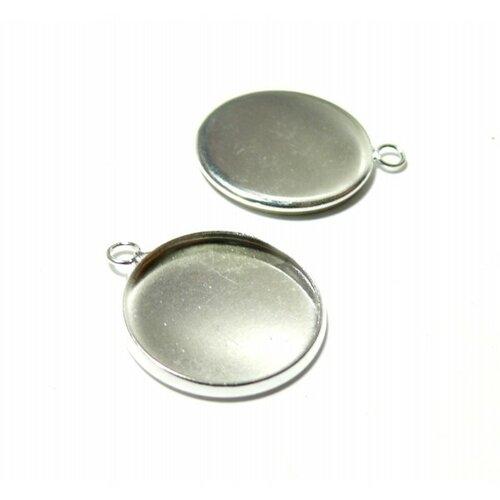 Bn1123304 pax 10 supports de pendentif attache ronde 12mm laiton couleur argent vif