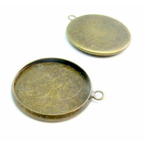 Bn1123304 pax 10 supports de pendentif attache ronde 12mm laiton couleur bronze