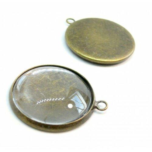 20 pièces: bn1123302 pax 10 supports de pendentif attache ronde 10mm laiton couleur bronze et 10 cabochons