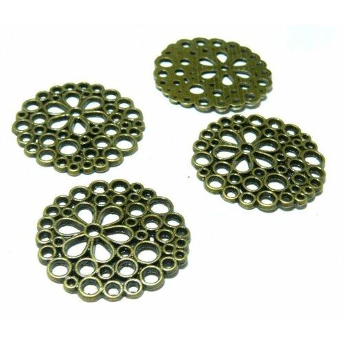 H3819 pax 10 pendentifs breloques rond dentelle fleur métal couleur bronze