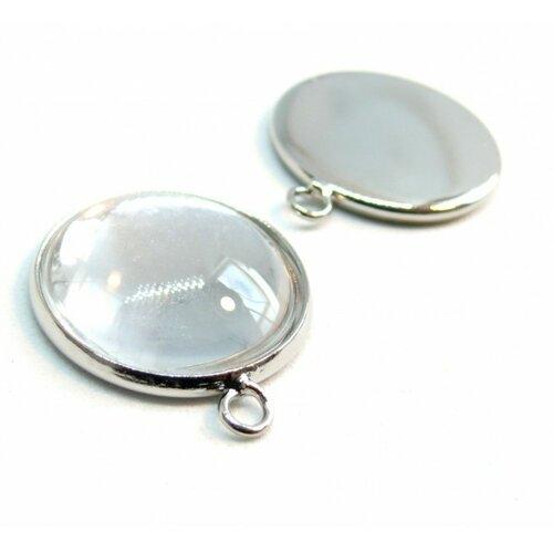 20 pîèces: bn1126737 pax 10 supports de pendentif attache ronde 25mm argent platine et 10 cabochons