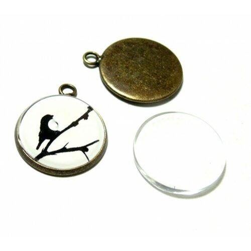 20 pîèces: bn1126737 pax 10 supports de pendentif attache ronde 25mm bronze et 10 cabochons en verre