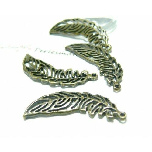 A13009 lot de 10 pieces pendentif plume feuille métal couleur bronze