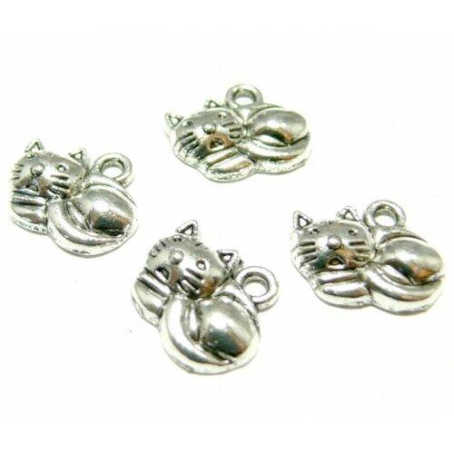 Ref 2y1103 lot de 20 pendentifs chaton métal couleur argent antique