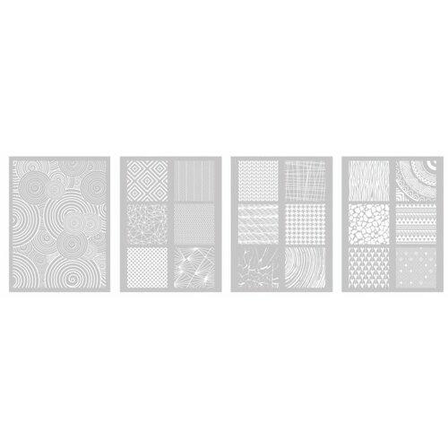 Lot de 4 pochoirs, silk screen motifs pour pate fimo, pate polymere, cernit, sculpey graine créative dtm265396