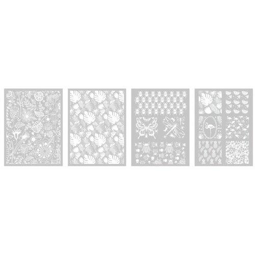 Lot de 4 pochoirs, silk screen vegetal pour pate fimo, pate polymere, cernit, sculpey graine créative dtm265395