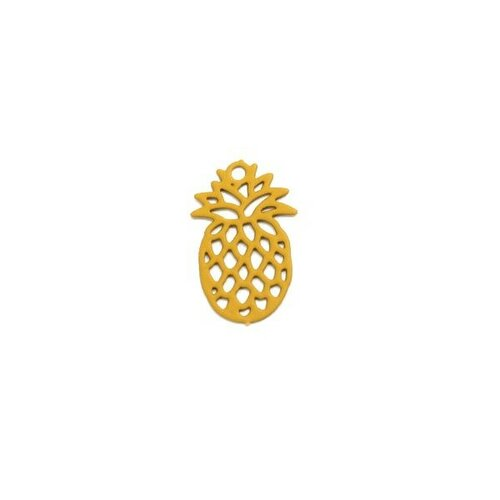 Ps110206599 pax 20 estampes pendentif petit ananas jaune moutarde 15mm
