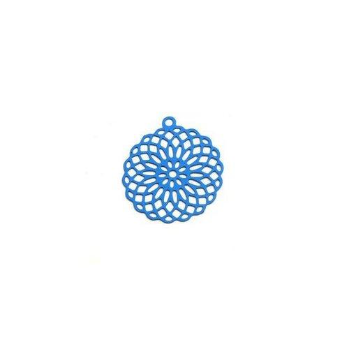 S110206557 pax 10 estampes pendentif connecteur filigrane rosace mandala bleu 30mm