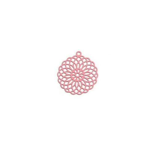 S110206555 pax 10 estampes pendentif connecteur filigrane rosace mandala rose 30mm