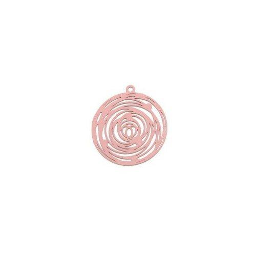 Ps110206569 pax 5 estampes pendentif filigrane rosace rose de 29mm
