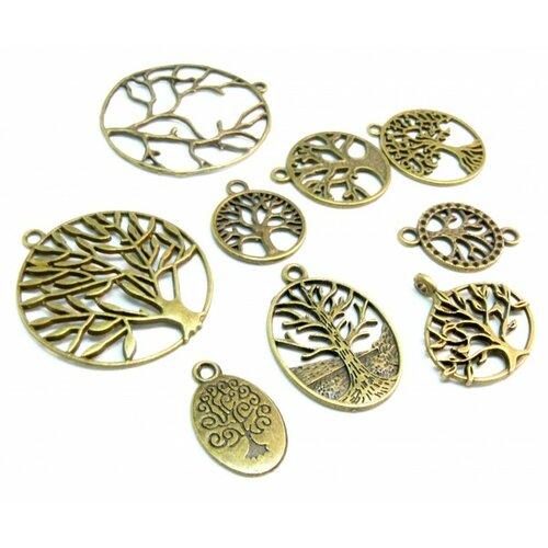 S11209771 pax 9 motifs pendentifs breloque arbre métal couleur bronze