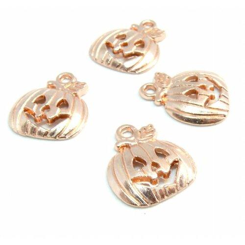 Ps110210094 pax 25 pendentifs breloque citrouille potiron halloween metal couleur or rose