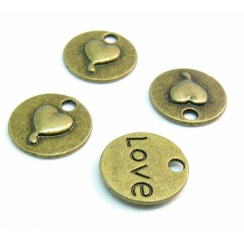Ps1119511 pax 25 pendentifs médaillon coeur love métal couelur bronze idéal pour la saint valentin