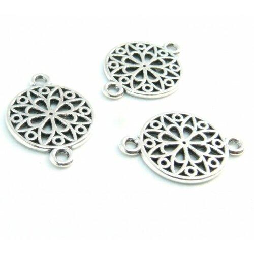 Ps110206648 pax 25 pendentifs connecteurs médaillon mandala couleur argent antique