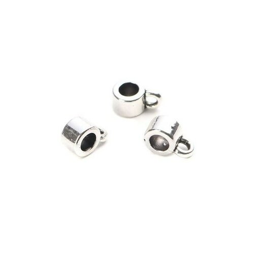 S110203848 pax 50 pendentifs bélières simple 8 par 4mm metal argent platine