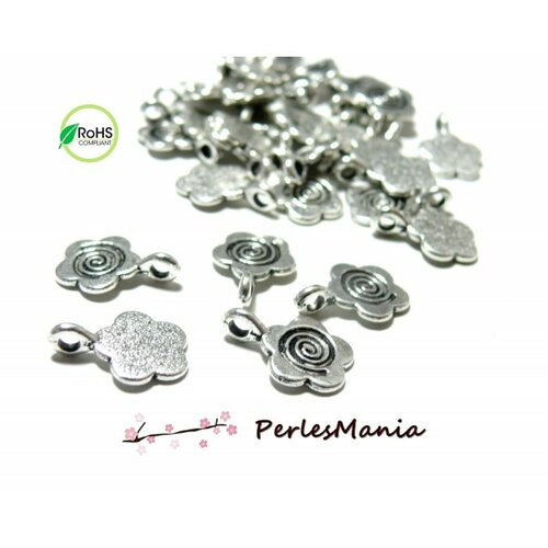 S118432 pax 25 pendentifs bélières à coller fleur metal argent antique