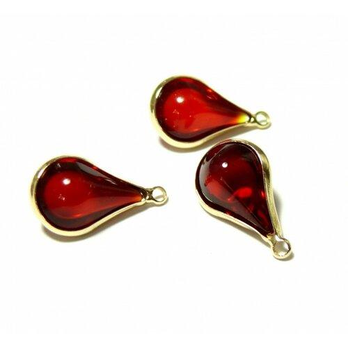 Ps11129818 pax 4 pendentifs goutte de verre rouge 18mm métal doré