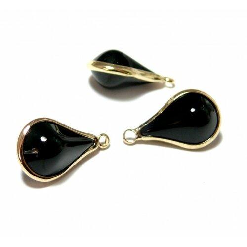 Ps11129826 pax 4 pendentifs goutte de verre noir 18mm métal doré