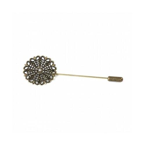 Ps1117328 pax 5 epingles à chapeau ou broche fibule dentelle 25mm métal couleur bronze
