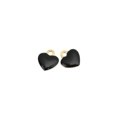 Ps110149025 pax 5 sequins médaillons résine style émaillés biface petit coeur 10mm noir