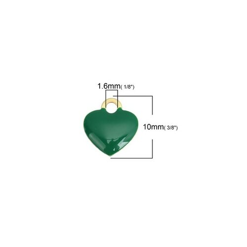 Ps110149023 pax 5 sequins médaillons résine style émaillés biface petit coeur 10mm vert