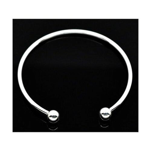 Ps1103562 pax 1 support bracelets jonc avec perles à vis metal couleur argent vif qualité cuivre