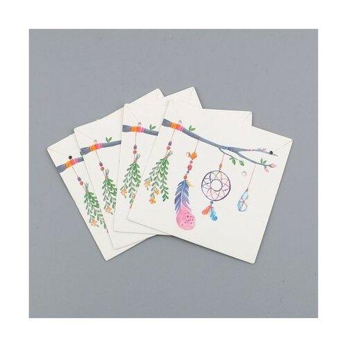 S1101130558 pax 20 cartes de présentation carre pour boucles d'oreilles boho chic dream catcher