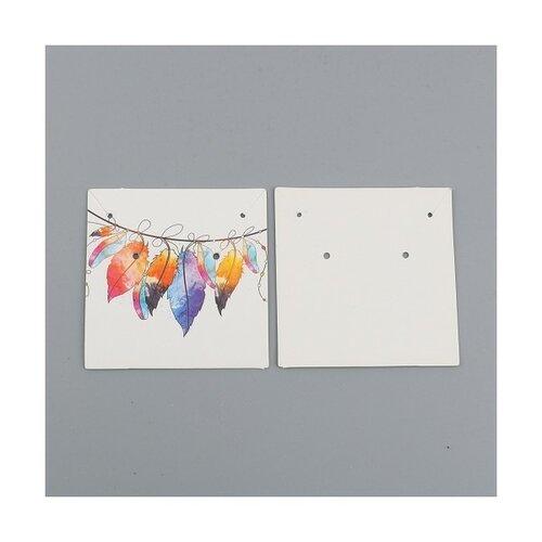 S1101130553 pax 25 cartes de présentation carre pour boucles d'oreilles plumes