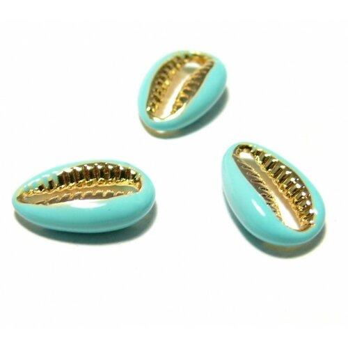 2 perles interclalaires émaillés cauri résine emaille turquoise sur metal doré14 par 4,5mm