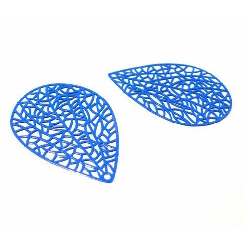 Ps110146626 pax de 4 estampes pendentif filigrane goutte feuille 40 par 30mm bleu roi